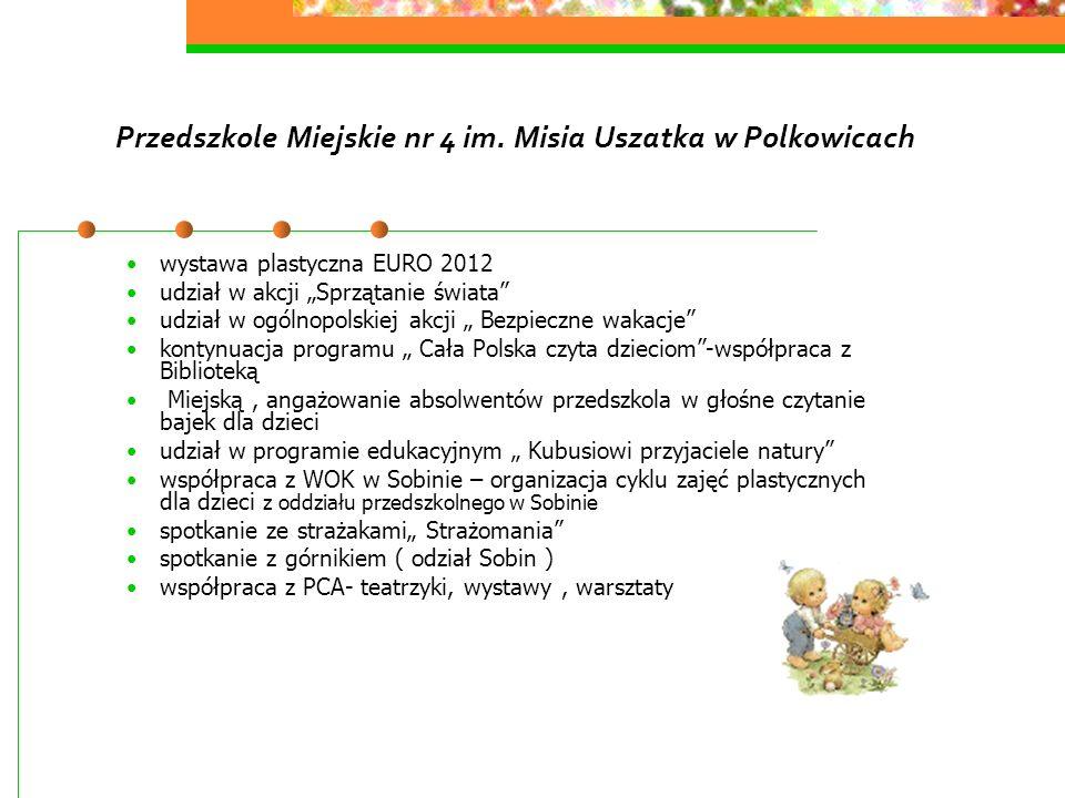 Przedszkole Miejskie nr 4 im. Misia Uszatka w Polkowicach wystawa plastyczna EURO 2012 udział w akcji Sprzątanie świata udział w ogólnopolskiej akcji