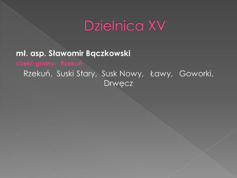 mł. asp. Sławomir Bączkowski część gminy- Rzekuń Rzekuń, Suski Stary, Susk Nowy, Ławy, Goworki, Drwęcz