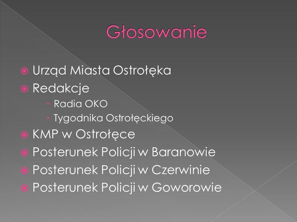 Urząd Miasta Ostrołęka Redakcje Radia OKO Tygodnika Ostrołęckiego KMP w Ostrołęce Posterunek Policji w Baranowie Posterunek Policji w Czerwinie Poster