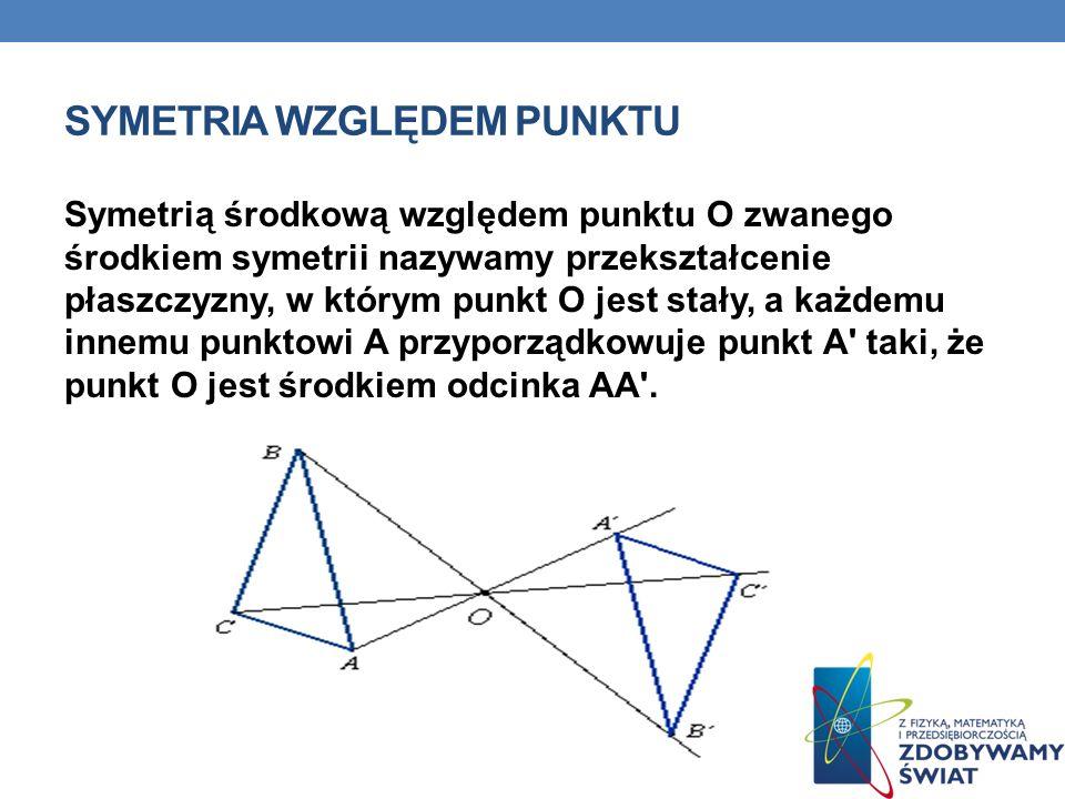 SYMETRIA WZGLĘDEM PUNKTU Symetrią środkową względem punktu O zwanego środkiem symetrii nazywamy przekształcenie płaszczyzny, w którym punkt O jest sta