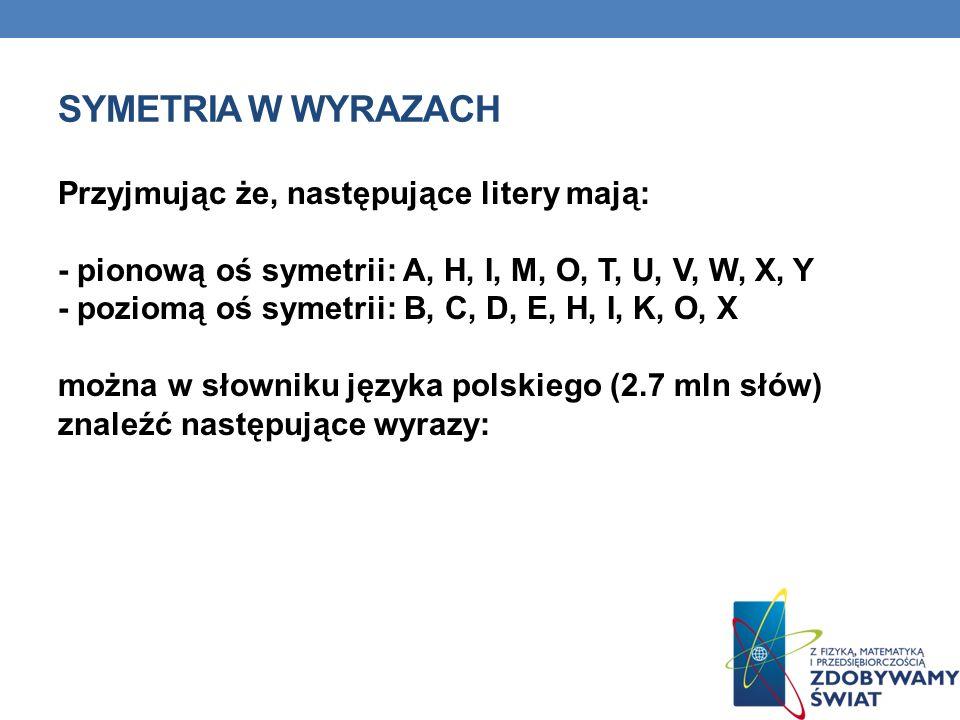SYMETRIA W WYRAZACH Przyjmując że, następujące litery mają: - pionową oś symetrii: A, H, I, M, O, T, U, V, W, X, Y - poziomą oś symetrii: B, C, D, E,