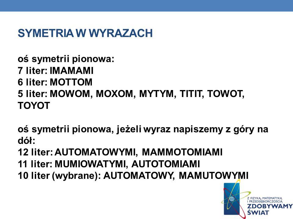 SYMETRIA W WYRAZACH oś symetrii pionowa: 7 liter: IMAMAMI 6 liter: MOTTOM 5 liter: MOWOM, MOXOM, MYTYM, TITIT, TOWOT, TOYOT oś symetrii pionowa, jeżel