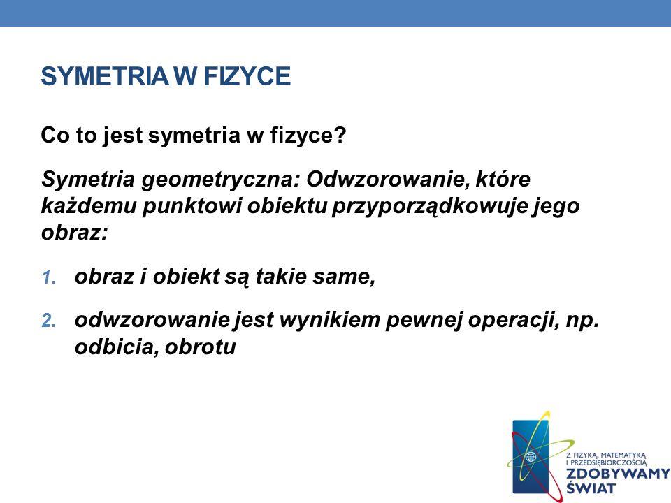 SYMETRIA W FIZYCE Co to jest symetria w fizyce? Symetria geometryczna: Odwzorowanie, które każdemu punktowi obiektu przyporządkowuje jego obraz: 1. ob