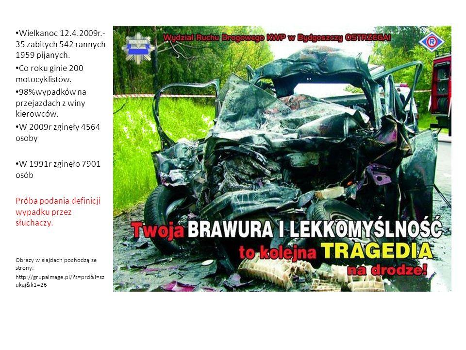 Wielkanoc 12.4.2009r.- 35 zabitych 542 rannych 1959 pijanych. Co roku ginie 200 motocyklistów. 98%wypadków na przejazdach z winy kierowców. W 2009r zg
