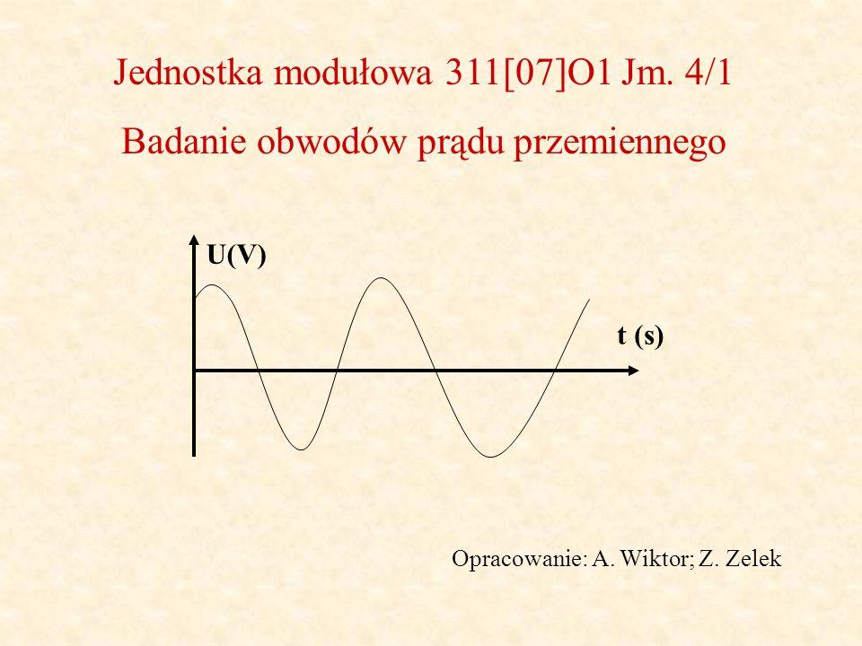 Jednostka modułowa 311[07]O1 Jm. 4/1 Badanie obwodów prądu przemiennego Opracowanie: A. Wiktor; Z. Zelek t (s) U(V)