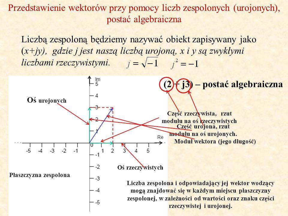 Przedstawienie wektorów przy pomocy liczb zespolonych (urojonych), postać algebraiczna Re Im (2 + j3) – postać algebraiczna Liczbą zespoloną będziemy