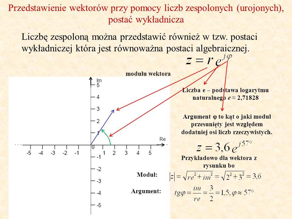 Zamiana postaci algebraicznej w wykładniczą Im Aby przekształcić zapis algebraiczny do równoważnego zapisu wykładniczego należy: 1.policzyć moduł wektora, 2.policzyć argument czyli kąt, 3.zapisać liczbę w postaci wykładniczej Zapis algebraiczny liczby z Część rzeczywista Argument to kąt o jaki moduł przesunięty jest względem dodatniej osi liczb rzeczywistych.