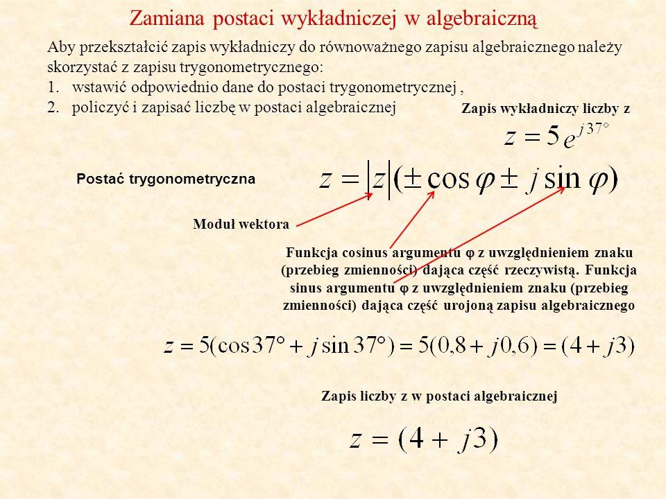 Działania na liczbach zespolonych (dodawanie i odejmowanie) (możliwe jedynie w postaci algebraicznej) Suma dwu liczb zespolonych z 1 =(a 1 +jb 1 ) i z 2 =(a 2 +jb 2 ) jest liczbą zespoloną z 3, której część rzeczywista jest sumą części rzeczywistych obydwu liczb a część urojona sumą części urojonych liczb z 1 i z 2.