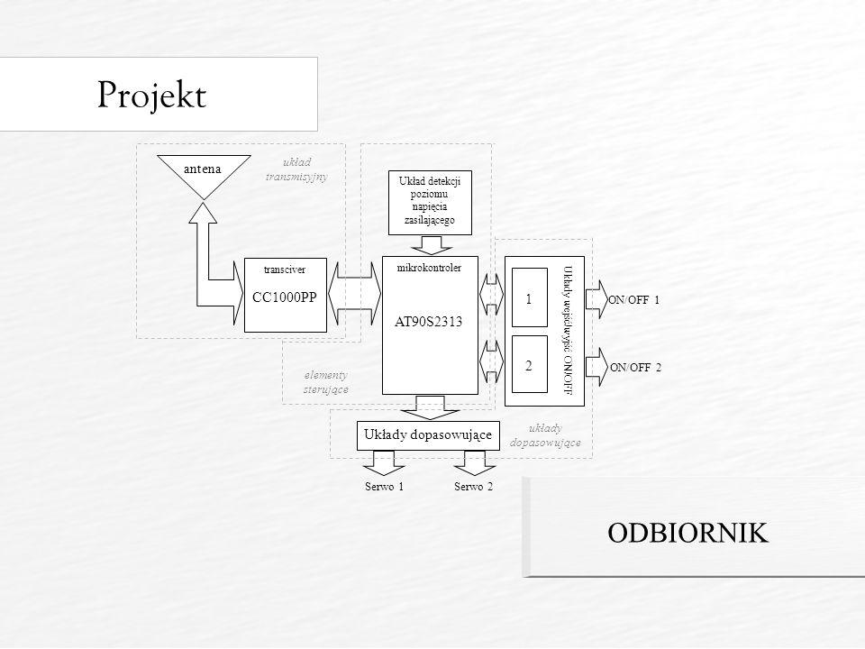 Projekt ODBIORNIK transciver CC1000PP mikrokontroler AT90S2313 Układy dopasowujące antena układ transmisyjny Układ detekcji poziomu napięcia zasilającego Układy wejść/wyjść ON/OFF 1 2 Serwo 1Serwo 2 elementy sterujące ON/OFF 1 ON/OFF 2 układy dopasowujące
