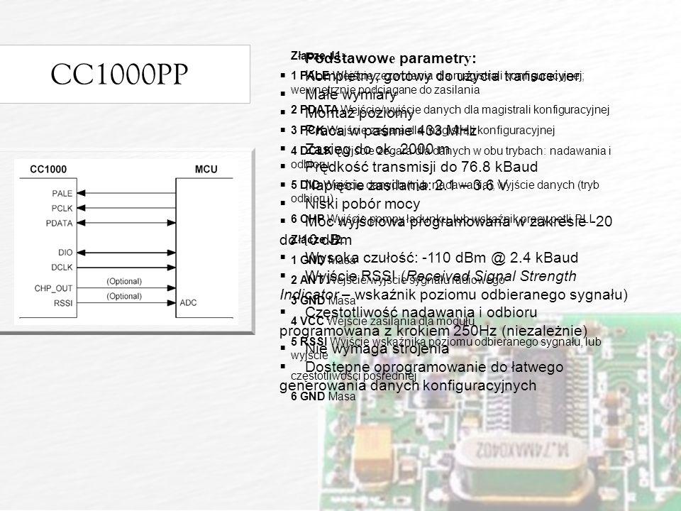 CC1000PP Podstawow e parametr y : Kompletny, gotowy do użycia transceiver Małe wymiary Montaż poziomy Praca w paśmie 433 MHz Zasięg do ok.
