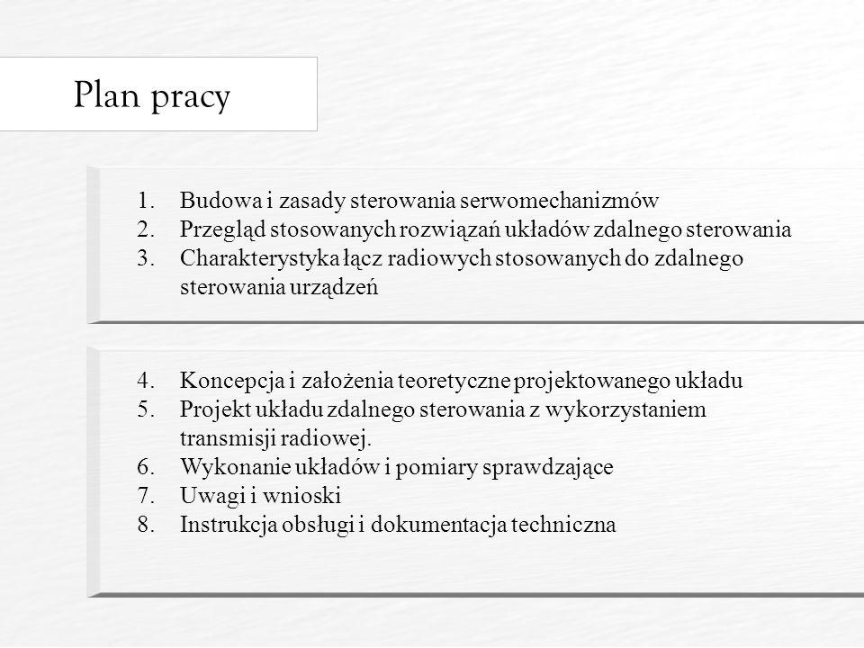 Plan pracy 1.Budowa i zasady sterowania serwomechanizmów 2.Przegląd stosowanych rozwiązań układów zdalnego sterowania 3.Charakterystyka łącz radiowych stosowanych do zdalnego sterowania urządzeń 4.Koncepcja i założenia teoretyczne projektowanego układu 5.Projekt układu zdalnego sterowania z wykorzystaniem transmisji radiowej.