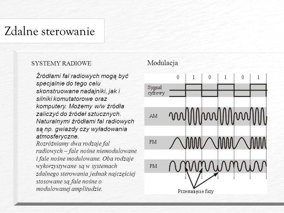 Zdalne sterowanie SYSTEMY RADIOWE Rozróżniamy dwa rodzaje fal radiowych – fale nośne niemodulowane i fale nośne modulowane.