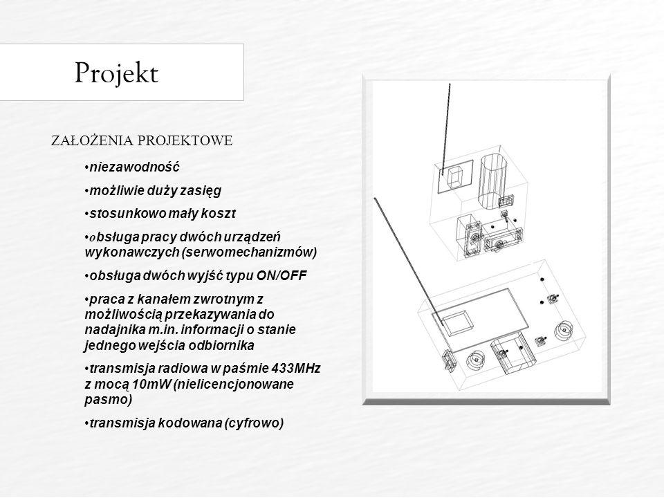 Projekt ZAŁOŻENIA PROJEKTOWE niezawodność możliwie duży zasięg stosunkowo mały koszt o bsługa pracy dwóch urządzeń wykonawczych (serwomechanizmów) obsługa dwóch wyjść typu ON/OFF praca z kanałem zwrotnym z możliwością przekazywania do nadajnika m.in.