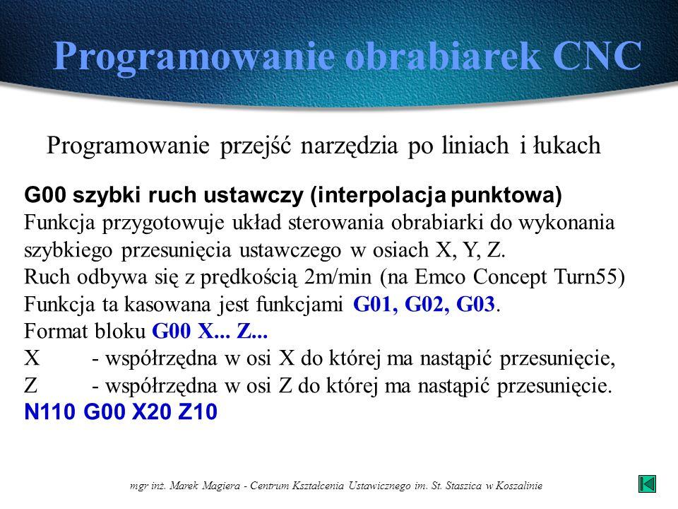 mgr inż. Marek Magiera - Centrum Kształcenia Ustawicznego im. St. Staszica w Koszalinie Programowanie obrabiarek CNC Programowanie przejść narzędzia p