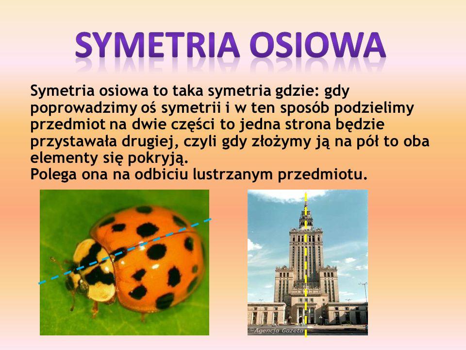 Symetria osiowa to taka symetria gdzie: gdy poprowadzimy oś symetrii i w ten sposób podzielimy przedmiot na dwie części to jedna strona będzie przystawała drugiej, czyli gdy złożymy ją na pół to oba elementy się pokryją.