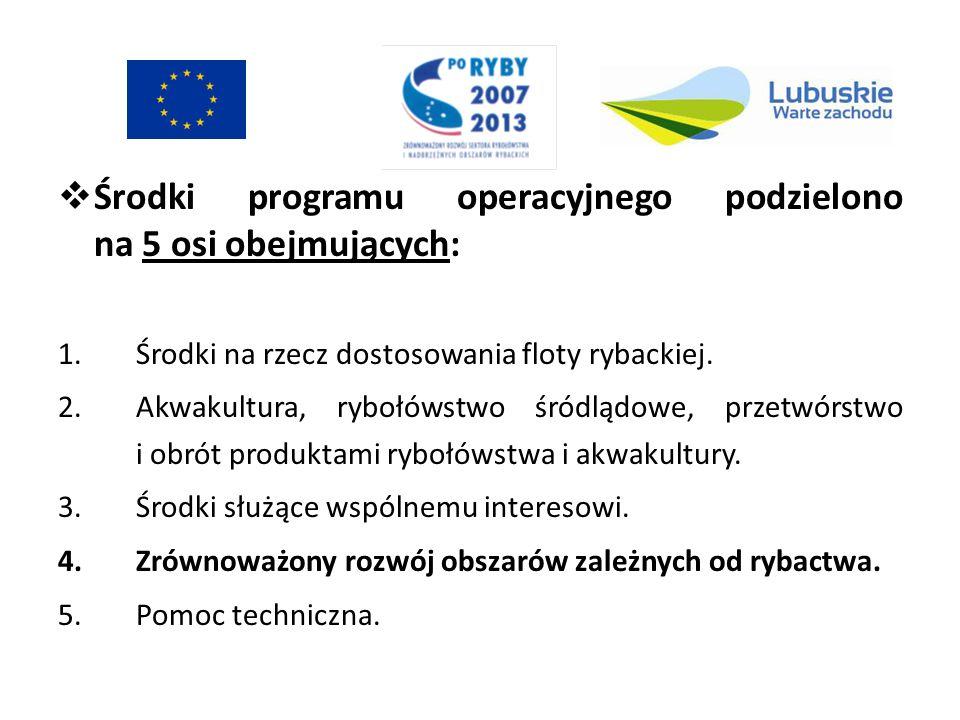 Środki programu operacyjnego podzielono na 5 osi obejmujących: 1.Środki na rzecz dostosowania floty rybackiej. 2.Akwakultura, rybołówstwo śródlądowe,