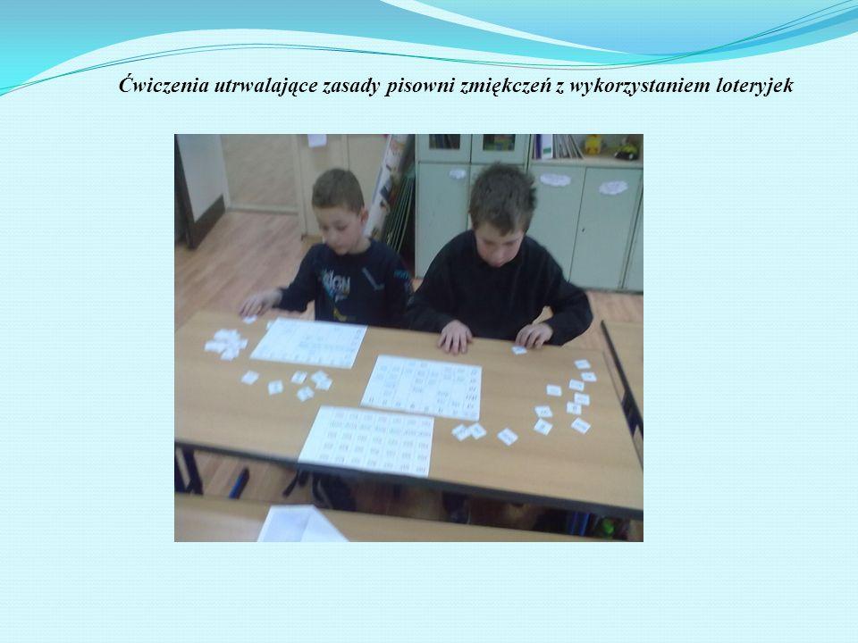 Ćwiczenia utrwalające zasady pisowni zmiękczeń z wykorzystaniem loteryjek