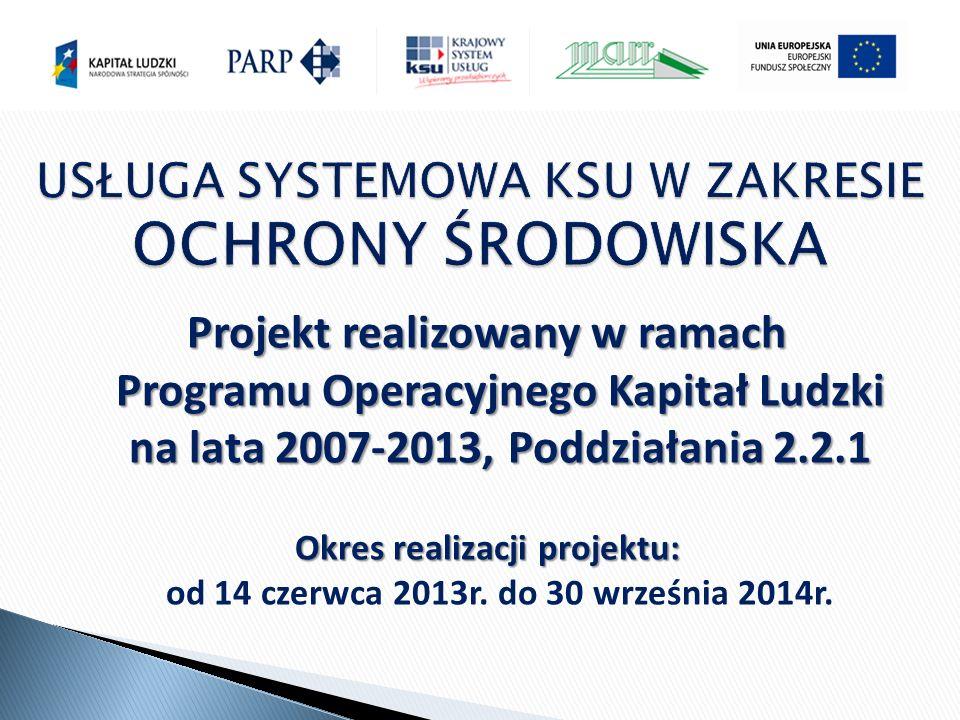 Projekt realizowany w ramach Programu Operacyjnego Kapitał Ludzki na lata 2007-2013, Poddziałania 2.2.1 Okres realizacji projektu: Okres realizacji projektu: od 14 czerwca 2013r.