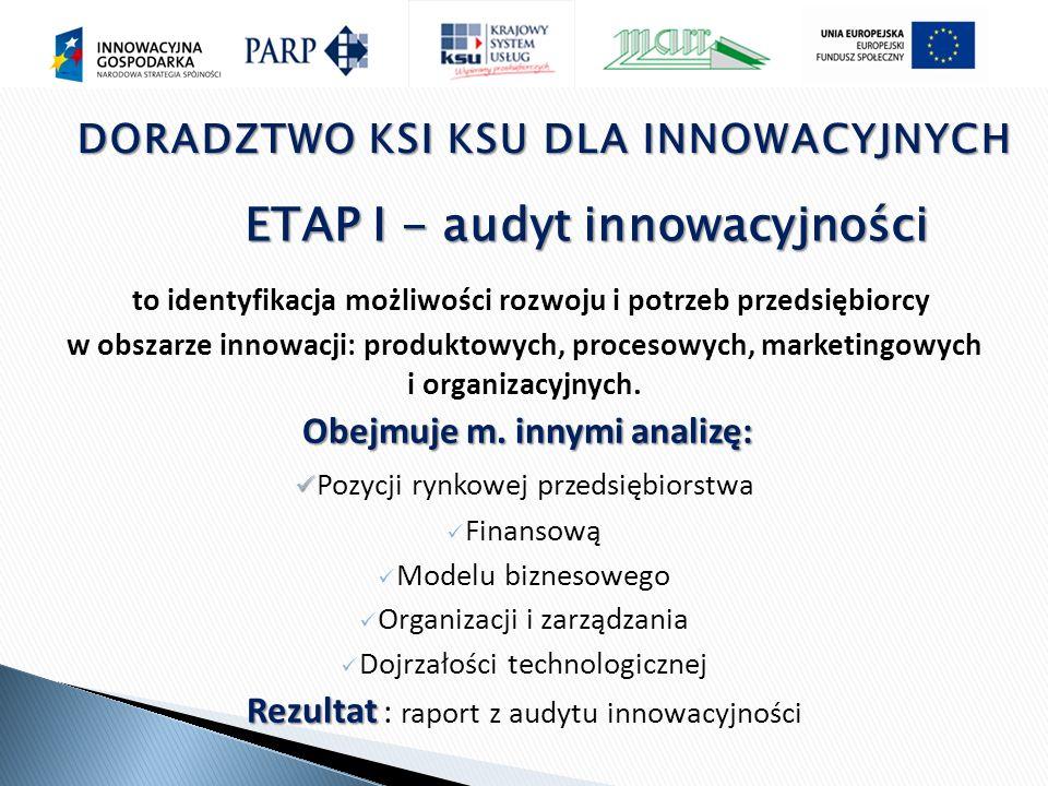 to identyfikacja możliwości rozwoju i potrzeb przedsiębiorcy w obszarze innowacji: produktowych, procesowych, marketingowych i organizacyjnych.