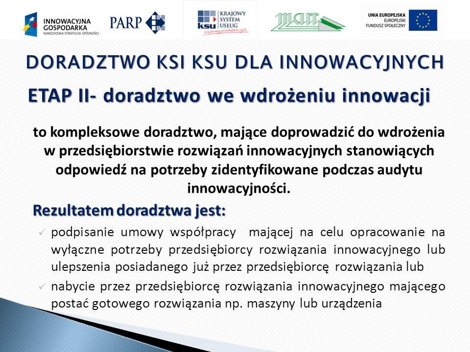 to kompleksowe doradztwo, mające doprowadzić do wdrożenia w przedsiębiorstwie rozwiązań innowacyjnych stanowiących odpowiedź na potrzeby zidentyfikowane podczas audytu innowacyjności.