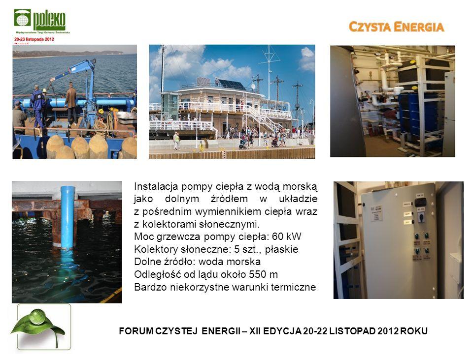 FORUM CZYSTEJ ENERGII – XII EDYCJA 20-22 LISTOPAD 2012 ROKU Instalacja pompy ciepła z wodą morską jako dolnym źródłem w układzie z pośrednim wymiennikiem ciepła wraz z kolektorami słonecznymi.