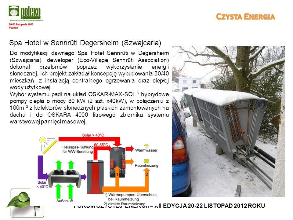 FORUM CZYSTEJ ENERGII – XII EDYCJA 20-22 LISTOPAD 2012 ROKU Spa Hotel w Sennrüti Degersheim (Szwajcaria) Do modyfikacji dawnego Spa Hotel Sennrüti w Degersheim (Szwajcaria), deweloper (Eco-Village Sennrüti Association) dokonał przełomów poprzez wykorzystanie energii słonecznej.