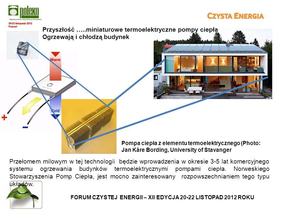FORUM CZYSTEJ ENERGII – XII EDYCJA 20-22 LISTOPAD 2012 ROKU Przełomem milowym w tej technologii będzie wprowadzenia w okresie 3-5 lat komercyjnego systemu ogrzewania budynków termoelektrycznymi pompami ciepła.
