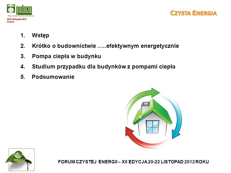 1.Wstęp 2.Krótko o budownictwie …..efektywnym energetycznie 3.Pompa ciepła w budynku 4.Studium przypadku dla budynków z pompami ciepła 5.