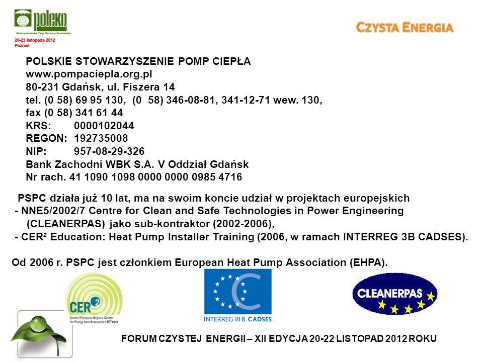FORUM CZYSTEJ ENERGII – XII EDYCJA 20-22 LISTOPAD 2012 ROKU POLSKIE STOWARZYSZENIE POMP CIEPŁA www.pompaciepla.org.pl 80-231 Gdańsk, ul.