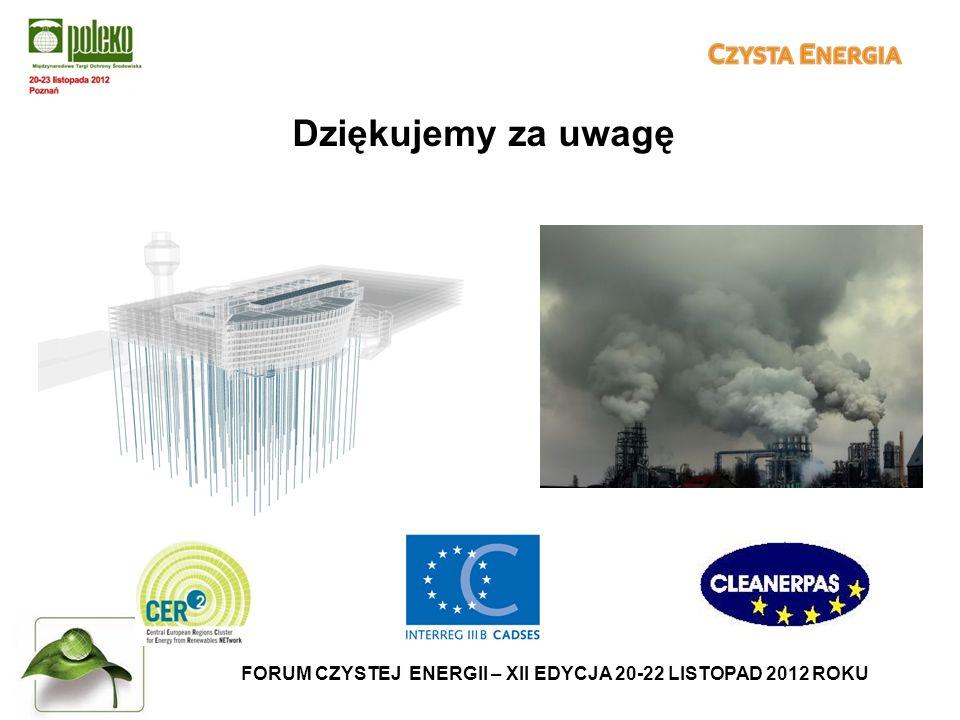 FORUM CZYSTEJ ENERGII – XII EDYCJA 20-22 LISTOPAD 2012 ROKU Dziękujemy za uwagę