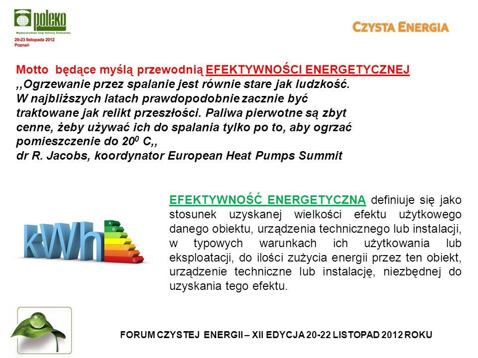 FORUM CZYSTEJ ENERGII – XII EDYCJA 20-22 LISTOPAD 2012 ROKU Motto będące myślą przewodnią EFEKTYWNOŚCI ENERGETYCZNEJ,,Ogrzewanie przez spalanie jest równie stare jak ludzkość.