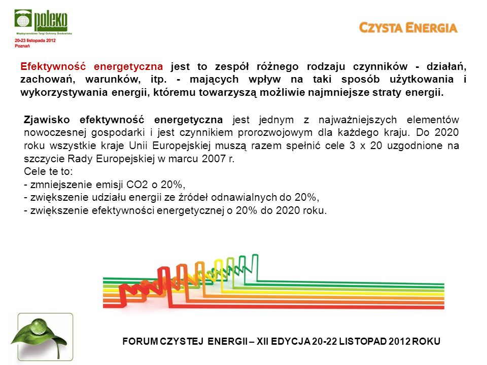 FORUM CZYSTEJ ENERGII – XII EDYCJA 20-22 LISTOPAD 2012 ROKU Efektywność energetyczna jest to zespół różnego rodzaju czynników - działań, zachowań, warunków, itp.