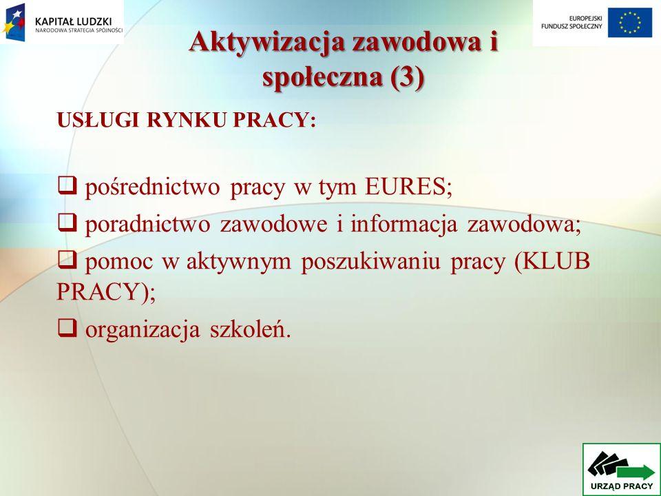 USŁUGI RYNKU PRACY: pośrednictwo pracy w tym EURES; poradnictwo zawodowe i informacja zawodowa; pomoc w aktywnym poszukiwaniu pracy (KLUB PRACY); organizacja szkoleń.