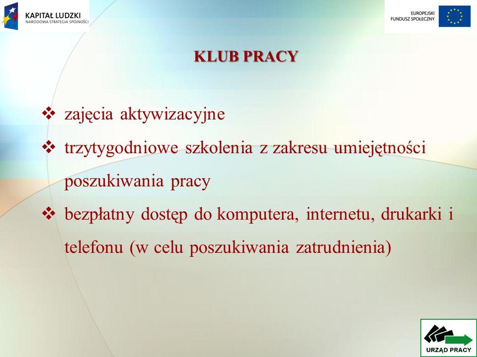 KLUB PRACY zajęcia aktywizacyjne trzytygodniowe szkolenia z zakresu umiejętności poszukiwania pracy bezpłatny dostęp do komputera, internetu, drukarki i telefonu (w celu poszukiwania zatrudnienia)