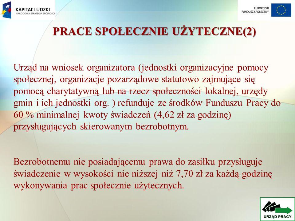 PRACE SPOŁECZNIE UŻYTECZNE(2) Urząd na wniosek organizatora (jednostki organizacyjne pomocy społecznej, organizacje pozarządowe statutowo zajmujące się pomocą charytatywną lub na rzecz społeczności lokalnej, urzędy gmin i ich jednostki org.
