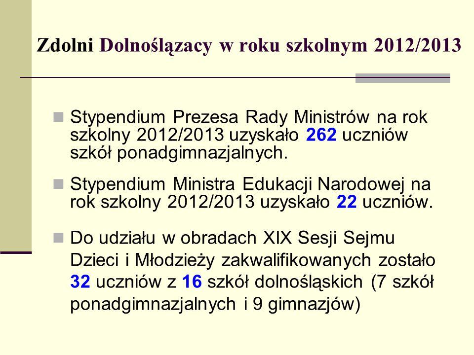 Zdolni Dolnoślązacy w roku szkolnym 2012/2013 Stypendium Prezesa Rady Ministrów na rok szkolny 2012/2013 uzyskało 262 uczniów szkół ponadgimnazjalnych