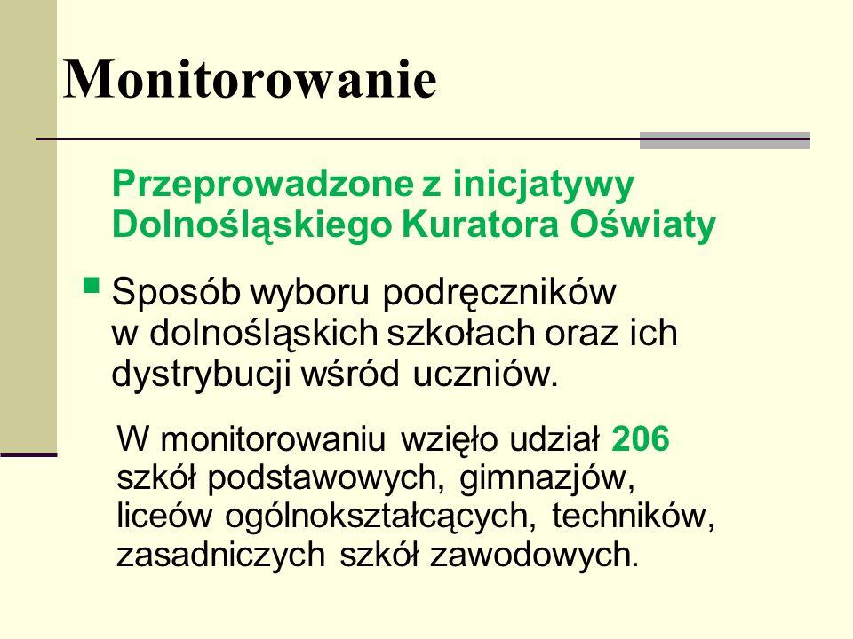 Monitorowanie Przeprowadzone z inicjatywy Dolnośląskiego Kuratora Oświaty Sposób wyboru podręczników w dolnośląskich szkołach oraz ich dystrybucji wśr