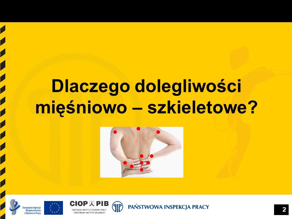 3 Rozmiar problemu Dolegliwości mięśniowo – szkieletowe są najbardziej rozpowszechnionym problemem zdrowotnym związanym z pracą w Europie.