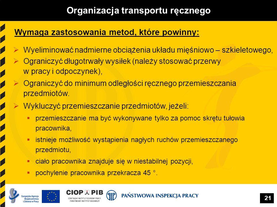 21 Organizacja transportu ręcznego Wymaga zastosowania metod, które powinny: Wyeliminować nadmierne obciążenia układu mięśniowo – szkieletowego, Ogran