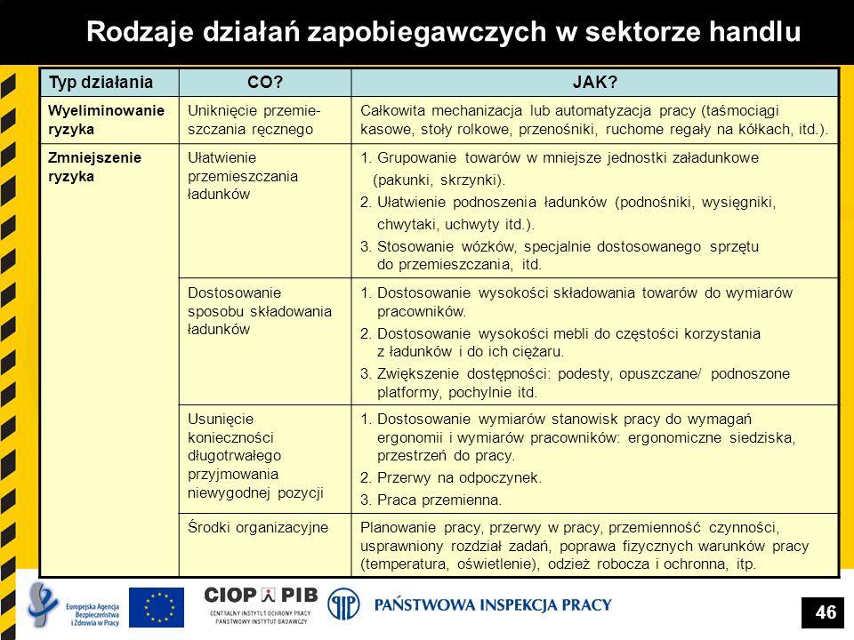 46 Rodzaje działań zapobiegawczych w sektorze handlu Typ działaniaCO?JAK? Wyeliminowanie ryzyka Uniknięcie przemie- szczania ręcznego Całkowita mechan