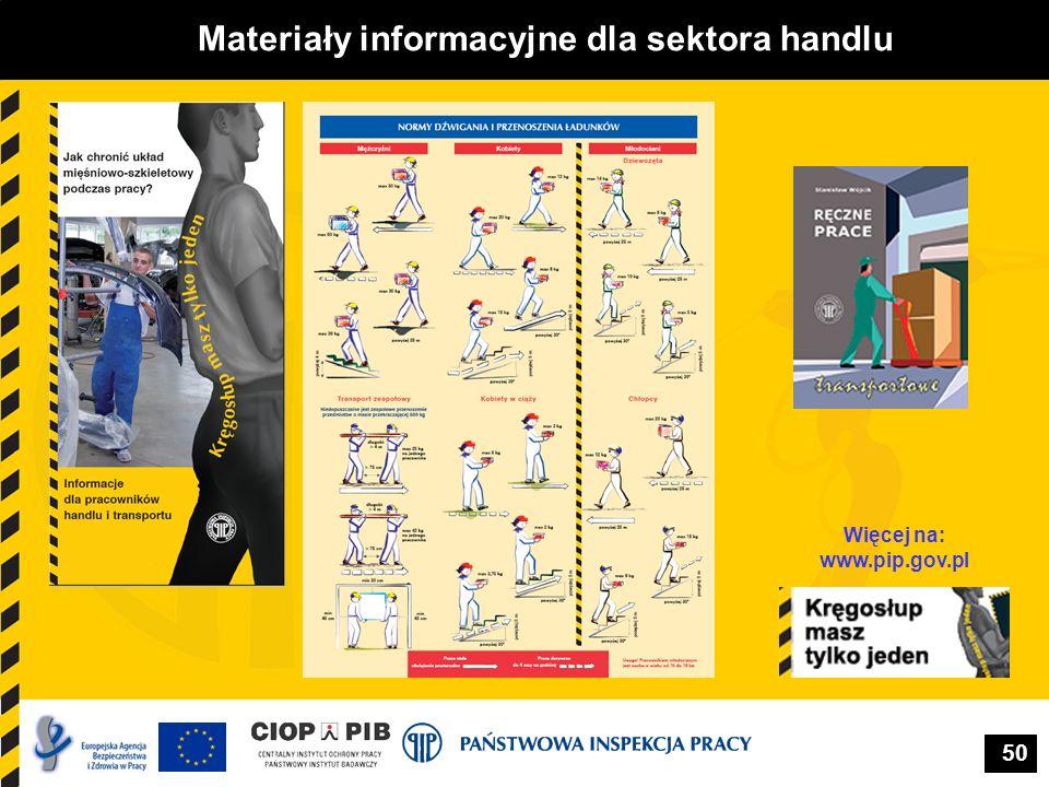 50 Materiały informacyjne dla sektora handlu Więcej na: www.pip.gov.pl