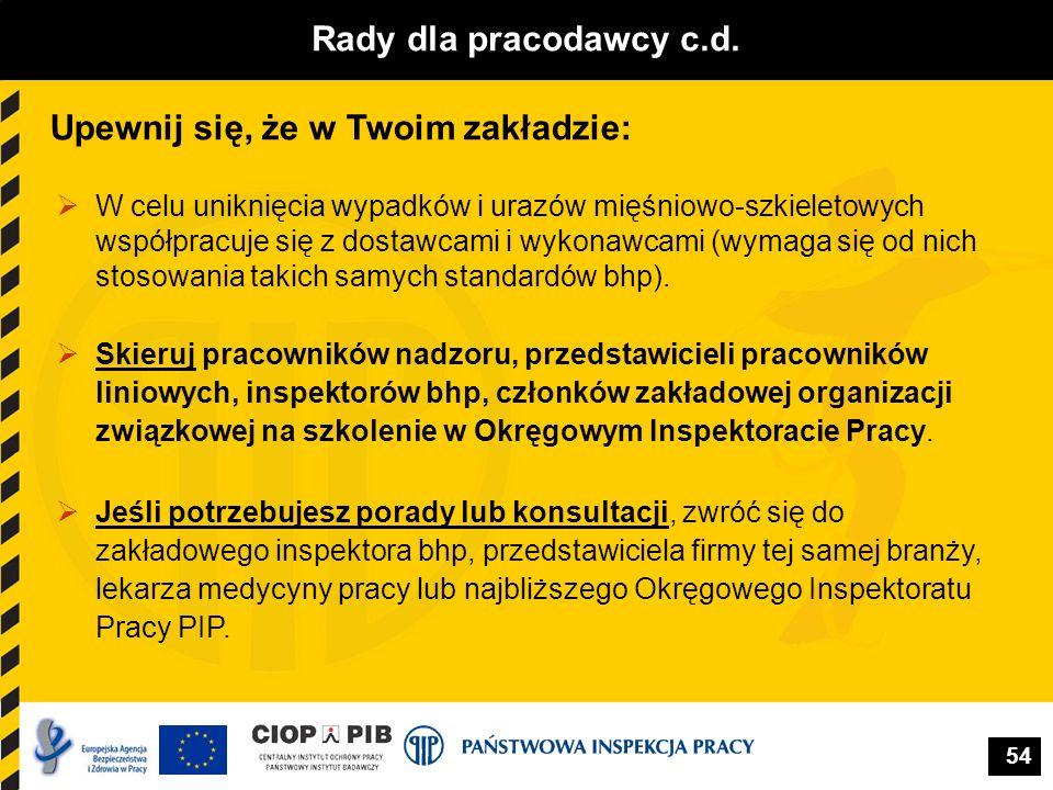 54 Rady dla pracodawcy c.d. Upewnij się, że w Twoim zakładzie: W celu uniknięcia wypadków i urazów mięśniowo-szkieletowych współpracuje się z dostawca
