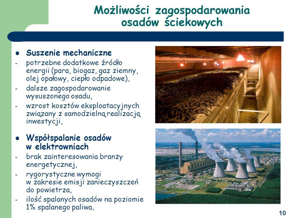 10 Suszenie mechaniczne - potrzebne dodatkowe źródło energii (para, biogaz, gaz ziemny, olej opałowy, ciepło odpadowe), - dalsze zagospodarowanie wysuszonego osadu, - wzrost kosztów eksploatacyjnych związany z samodzielną realizacją inwestycji, Współspalanie osadów w elektrowniach - brak zainteresowania branży energetycznej, - rygorystyczne wymogi w zakresie emisji zanieczyszczeń do powietrza, - ilość spalanych osadów na poziomie 1% spalanego paliwa, Możliwości zagospodarowania osadów ściekowych