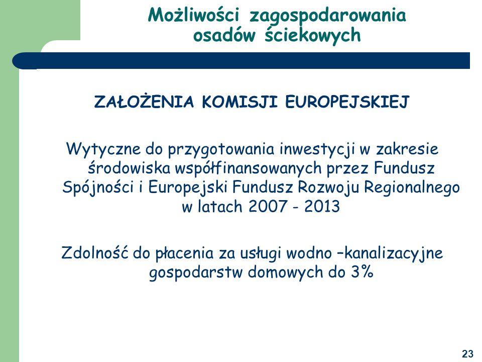 23 Możliwości zagospodarowania osadów ściekowych ZAŁOŻENIA KOMISJI EUROPEJSKIEJ Wytyczne do przygotowania inwestycji w zakresie środowiska współfinansowanych przez Fundusz Spójności i Europejski Fundusz Rozwoju Regionalnego w latach 2007 - 2013 Zdolność do płacenia za usługi wodno –kanalizacyjne gospodarstw domowych do 3%