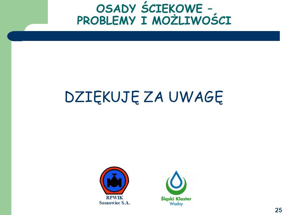 25 OSADY ŚCIEKOWE – PROBLEMY I MOŻLIWOŚCI DZIĘKUJĘ ZA UWAGĘ RPWIK Sosnowiec S.A.