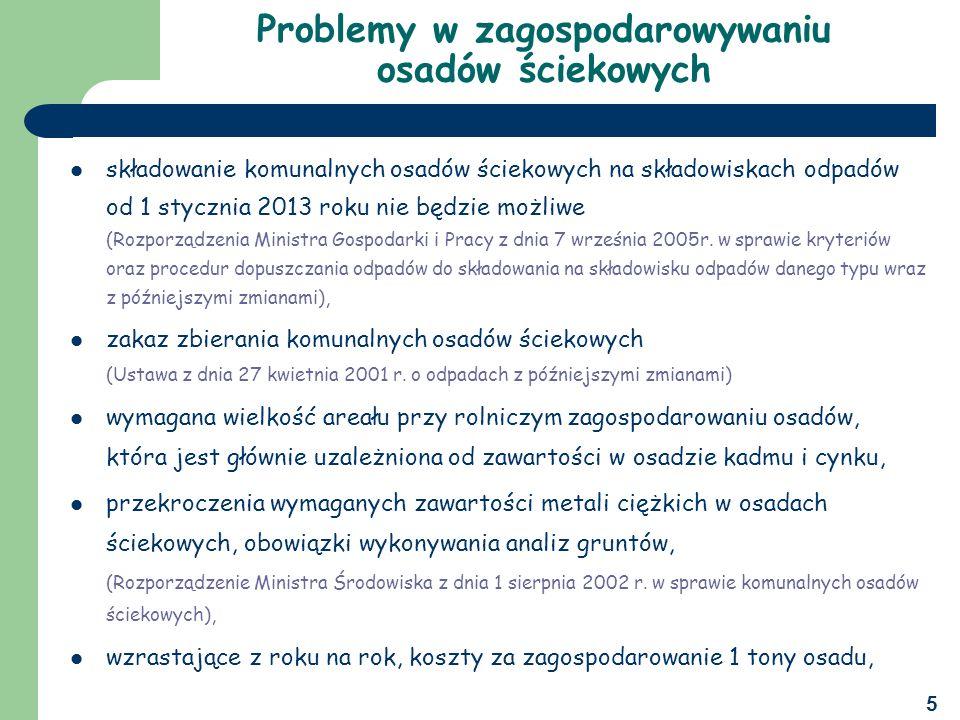 5 Problemy w zagospodarowywaniu osadów ściekowych składowanie komunalnych osadów ściekowych na składowiskach odpadów od 1 stycznia 2013 roku nie będzie możliwe (Rozporządzenia Ministra Gospodarki i Pracy z dnia 7 września 2005r.