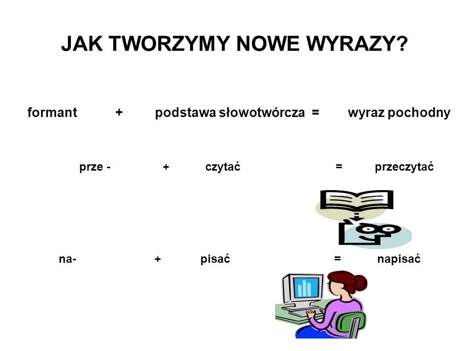 JAK TWORZYMY NOWE WYRAZY? formant + podstawa słowotwórcza = wyraz pochodny prze - + czytać = przeczytać na- + pisać = napisać