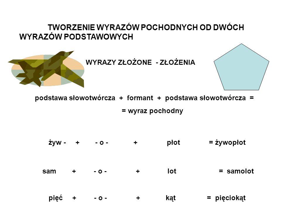 TWORZENIE WYRAZÓW POCHODNYCH OD DWÓCH WYRAZÓW PODSTAWOWYCH WYRAZY ZŁOŻONE - ZŁOŻENIA podstawa słowotwórcza + formant + podstawa słowotwórcza = = wyraz