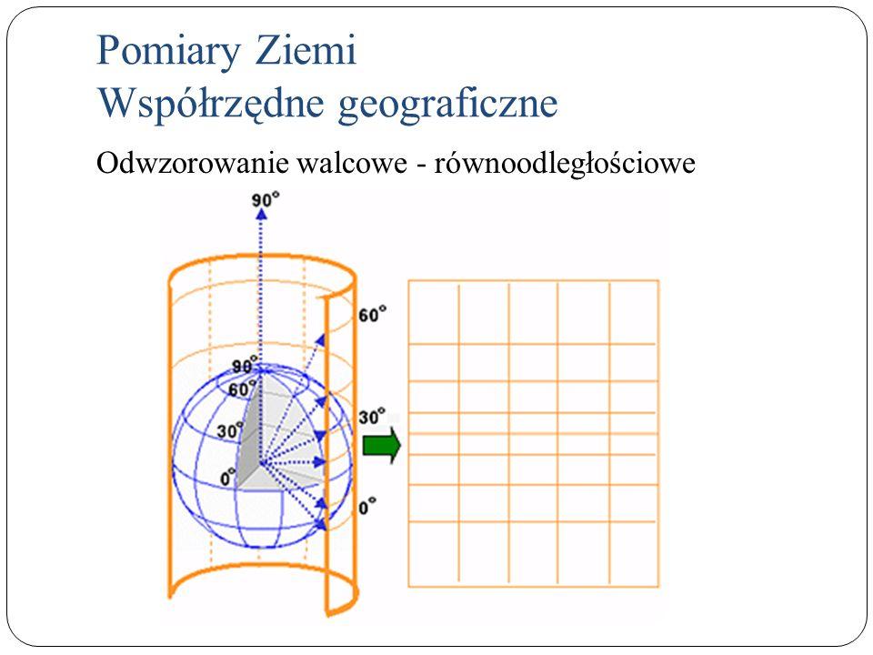 Pomiary Ziemi Współrzędne geograficzne Odwzorowanie walcowe - równoodległościowe
