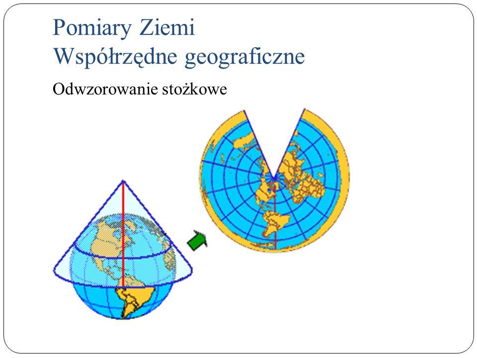 Pomiary Ziemi Współrzędne geograficzne Odwzorowanie stożkowe